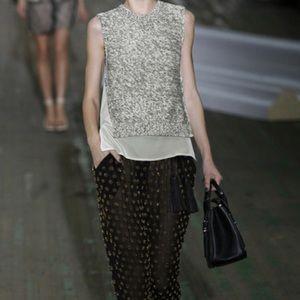3.1 Phillip Lim black/white knit chiffon tank